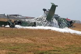 Armée de l'air Ivoirienne Mil Mi-24 Helicopter Crashed During Take-off At Abidjan Airport