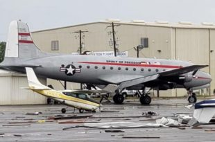 At Least 20 Planes Destroyed Including World War II-era Douglas C-54 Skymaster After A Tornado Passed Through Walterboro Airport
