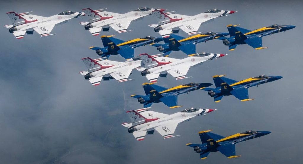 """Watch: Supercut Video Of Blue Angels & Thunderbirds """"America Strong"""" Flyover"""