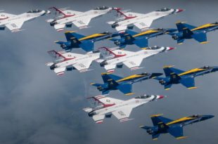 "Watch: Supercut Video Of Blue Angels & Thunderbirds ""America Strong"" Flyover"