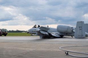 U.S. Air Force A-10C Thunderbolt II Aircraft Makes Emergency Landing At Moody Air Force Base
