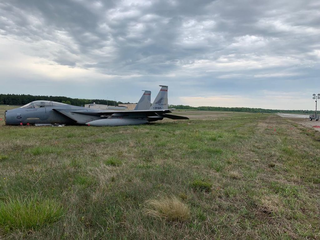 U.S. Air Force F-15C Eagle Skidded Off Runway During Emergency Landing At Andrews Air Force Base