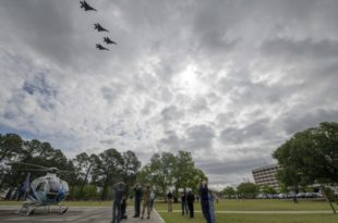 U.S. Air Force F-15 E Strike Eagles Flew Over Eastern North Carolina Hospitals In Show Of Support During COVID-19 Pandemic