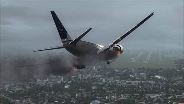 Pakistan International Airlines Airbus A320 Both Engine On Fire Before Crash