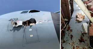 Royal Air Force Airbus A400M Atlas Suffered Bird Strike Causing Giant Hole Under Cockpit