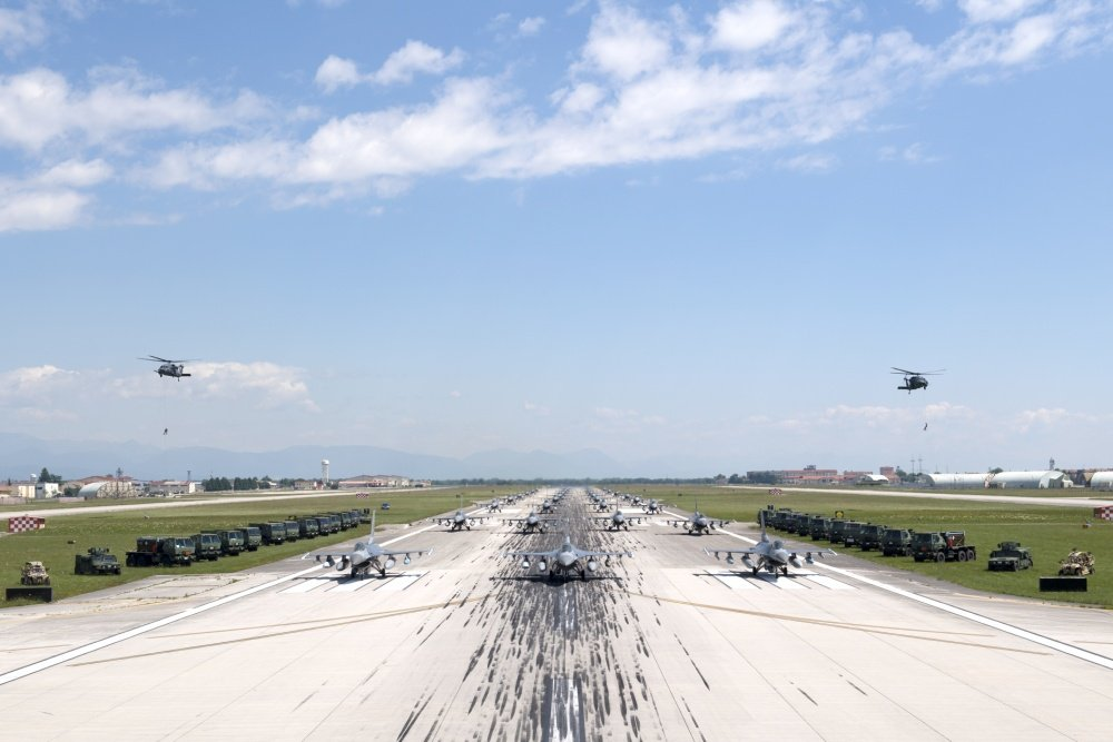 24 U.S. Air Force F-16s Performed Elephant Walk And COVID-19 Flyover At Aviano Air Base