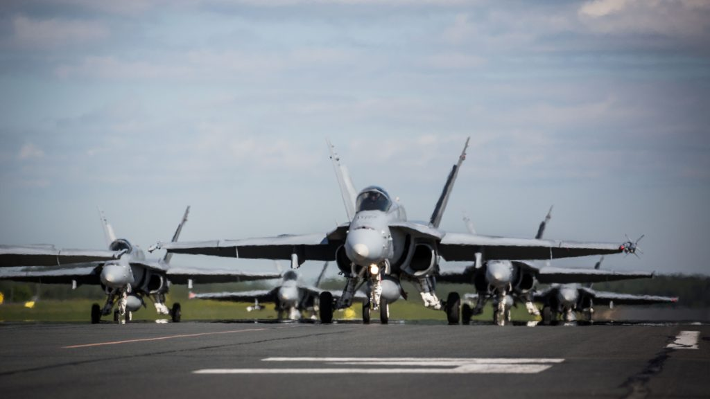 32 Finnish Air Force F-18 Hornets Performed Elephant Walk At Kuopio Air Base