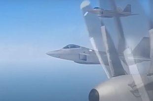 U.S. Air Force F-22 Raptors, KC-135 & E-3 AWACS Aircraft Intercepts Russian Su-35 Fighters, Tu-95 Bombers & A-50 AEW Aircraft