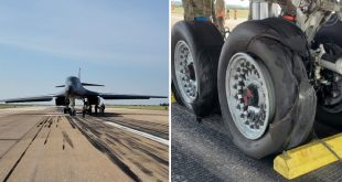 Air Force B-1B Bomber Blew Tires and Had Brake Fire During Emergency Landing