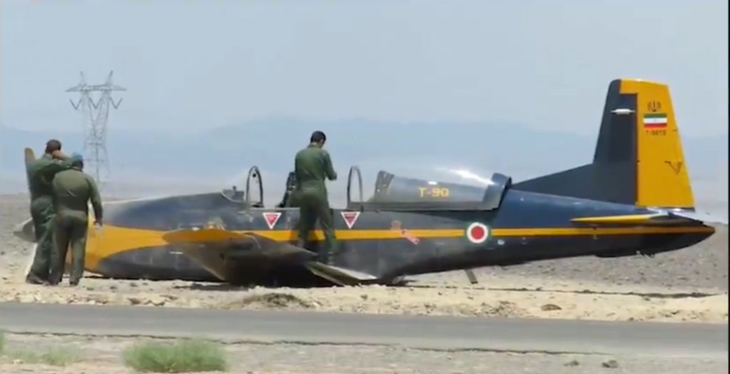 Iran Air Force Pilatus PC-7 Training Aircraft Performed Belly-landed On A Roadside