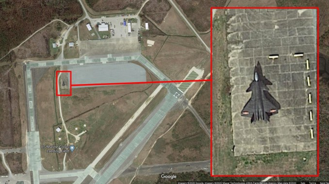 Satellite Image Spots Chinese J-20 Mock-Up At U.S. MCALF Bogue Field