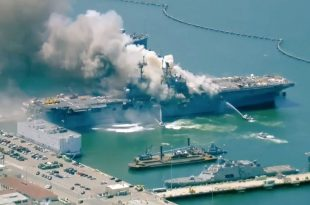 USS Bonhomme Richard On Fire At Naval Base San Diego After An Explosion, 21 Injured