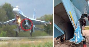 Ukrainian Air Force Sukhoi Su-27S Hits Road Sign During Highway Landing Training