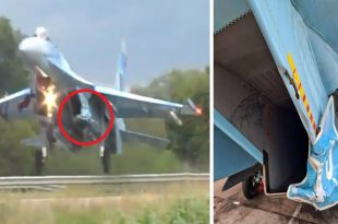 Ukrainian Air Force Sukhoi Su-27S Hits Road Sign During Highway Landing Training