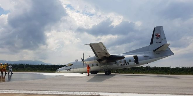 Royal Thai Navy Fokker F-27 Friendship 200 Maritime Enforcer Aircraft Performed A Nosegear-up Landing