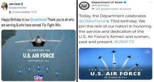 U.S. State Department & Politicians Wishes Air Force Happy Birthday With Pictures Of Navy's Blue Angels