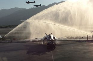 F-117 Nighthawk Stealth Jet Gets Flyby & Water Salute On Arrival At Palm Springs Air Museum