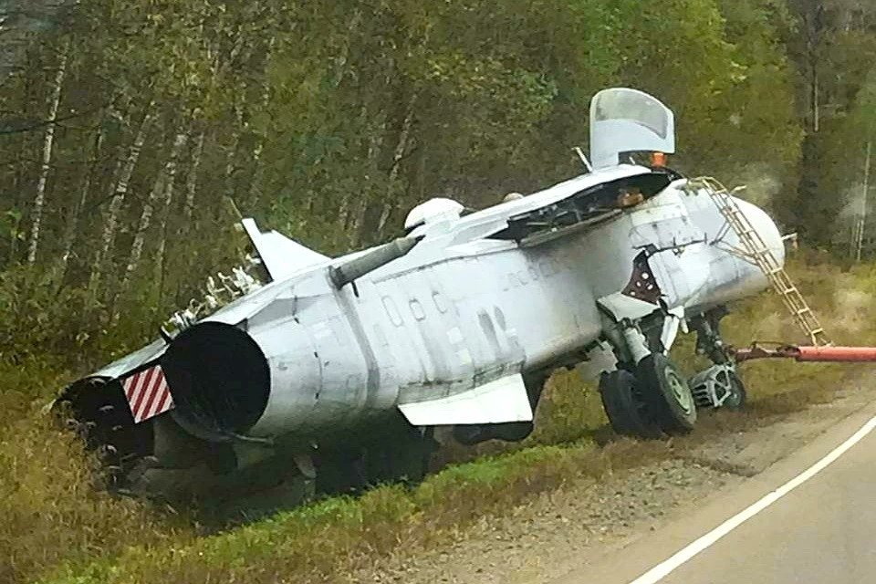 Russian Air Force Sukhoi Su-24M Bomber Aircraft Fell Into A Ditch During Transportation Via Road