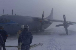 Russian Air Force An-12 Aircraft Sustained Landing Gear Collapse While landing In A Snowstorm