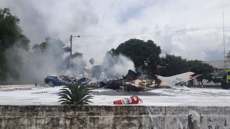 Paraguayan Air Force Cessna 402B Aircraft Crashes Near Silvio Pettirossi International Airport Killing 7 People On Board