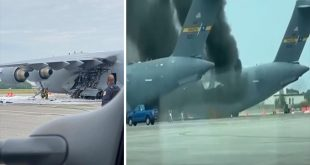 USAF C-17 Airlifter Catches Fire on Runway At The Joint Base Charleston