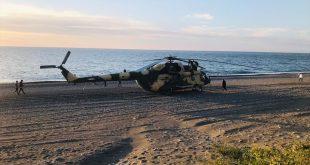 Azerbaijan Army Mil Mi-17 Helicopter Made Emergency Landing At Bada Beach
