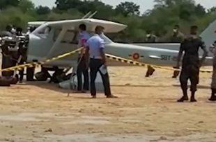 Sri Lanka Air Force Cessna 150L Trainer Aircraft Makes Emergency Landing At Irakkandi