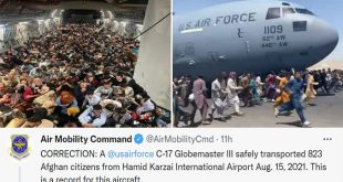 Reach 871 Flight Actually Evacuated 823 Afghans From Kabul Setting C-17 New Record