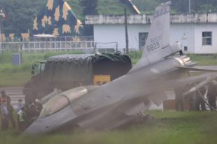 Taiwan F-16 Fighter Jet Overruns Runway and Crashes