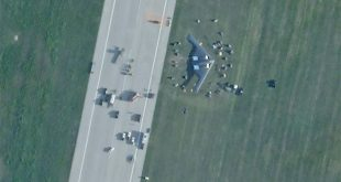Satellite Image Shows B-2 Moved To Hangar After Skidding Off Runway